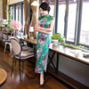 New Arrival Summer Stylish Women Vintage Long Qipao Dress Chinese Female Classic Satin Slim Cheongsam Flowers