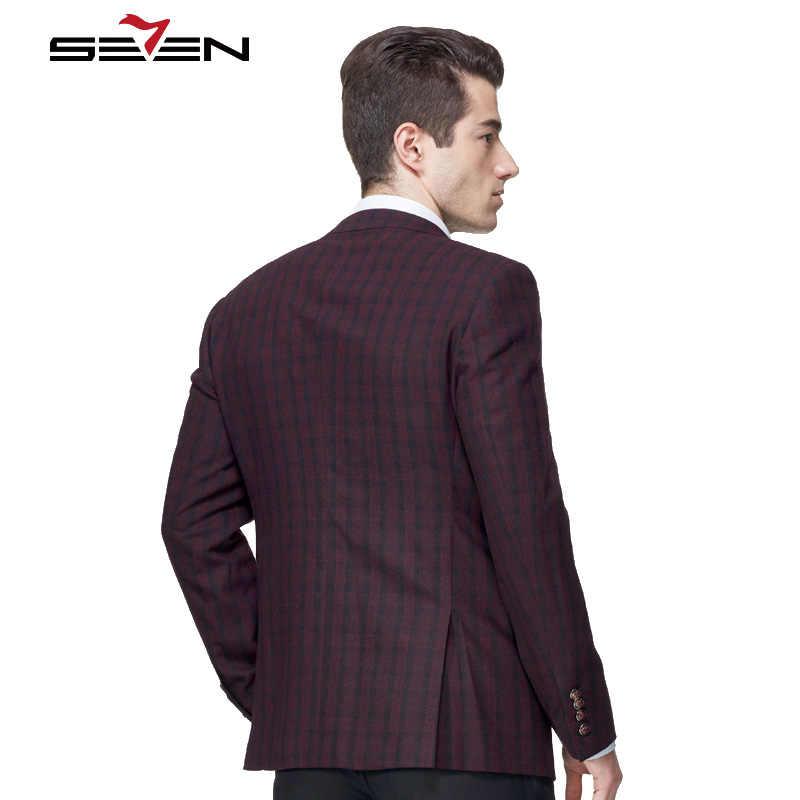 Seven7 marka moda marynarka szyte na miarę na co dzień formalnym garnitur kurtka płaszcz mężczyzna Slim Fit bordowy Plaid anglia w stylu Vintage męskie ubrania