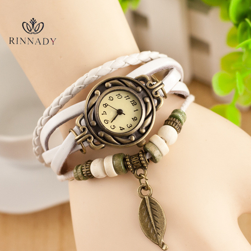 RINNADY New Retro Pendant Women Bracelet font b Watch b font Gold Quartz Gift font b