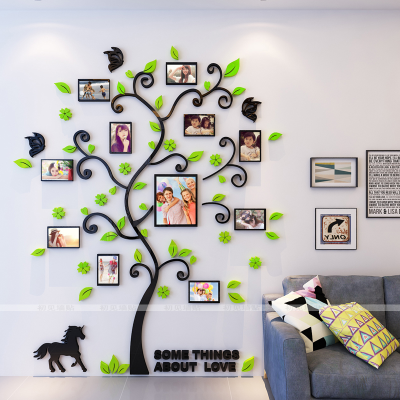 Wall sticker 3D crystal frame tree Photo wall Living room, bedroom, office inspirational photos Wall sticker