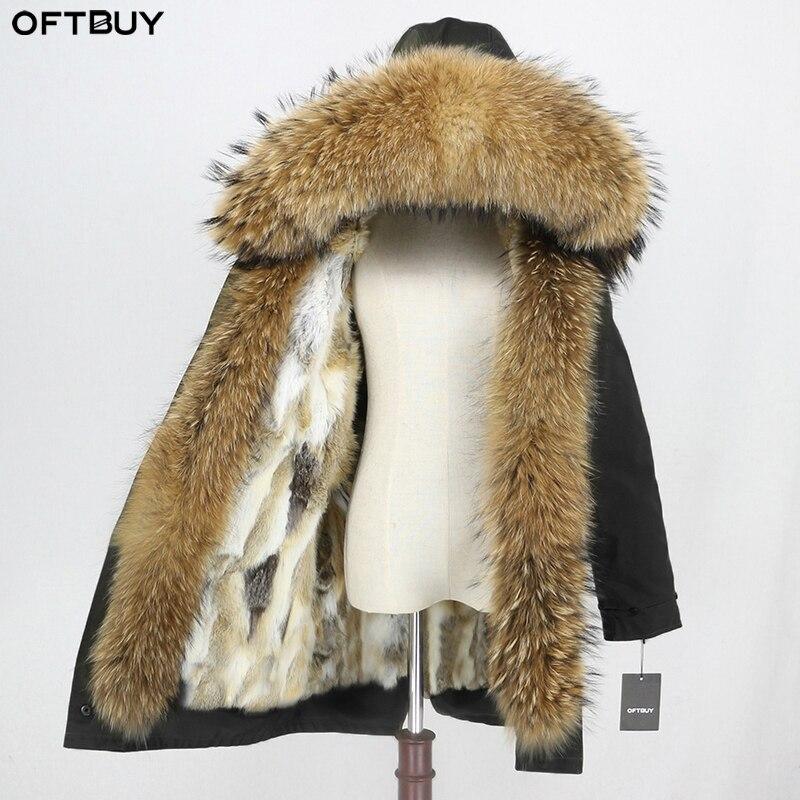 OFTBUY Waterproof Parka Winter Jacket Women Real Fur Coat Natural Raccoon Fur Collar Hood Rabbit Fur Liner Thick Warm Outerwear