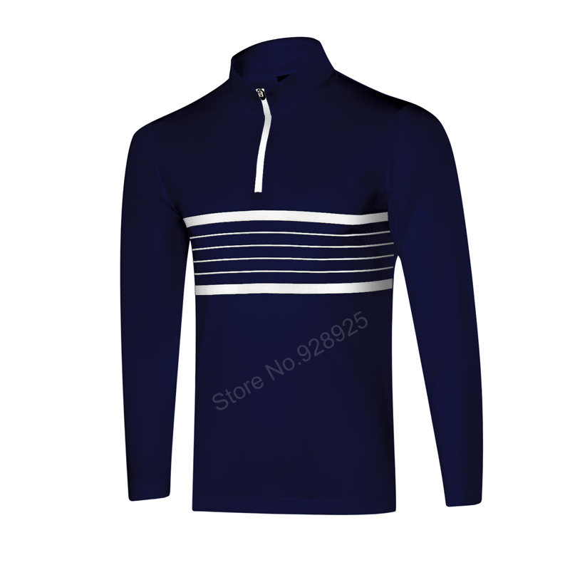 new men golf shirts long-sleeve training garment sports jersey striped polo shirts tops golf outwear brand T shirt navy S~XX цена 2016