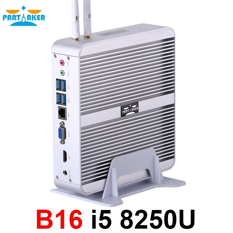 Partícipe B16 Intel Core i5 8250U DDR4 Mini PC sin ventilador WIN10 Mini PC Windows10 con HDMI VGA USB