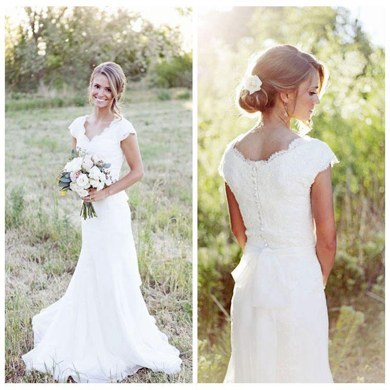 Aliexpress.com : Buy Vintage Ivory Chiffon Lace Wedding Dresses V ...