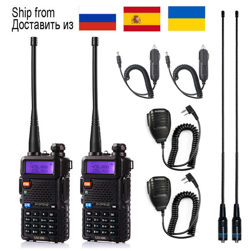 1pcs/2pcs Walkie Talkie Baofeng uv-5r Radio Station 5W Portable Baofeng uv 5r from Russia Ukraine Spain warehouse radio amateur