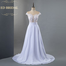 Real Photos Y Beach Wedding Dress See Through Tulle Chiffon Gown With Lace Liques Plus Size Available