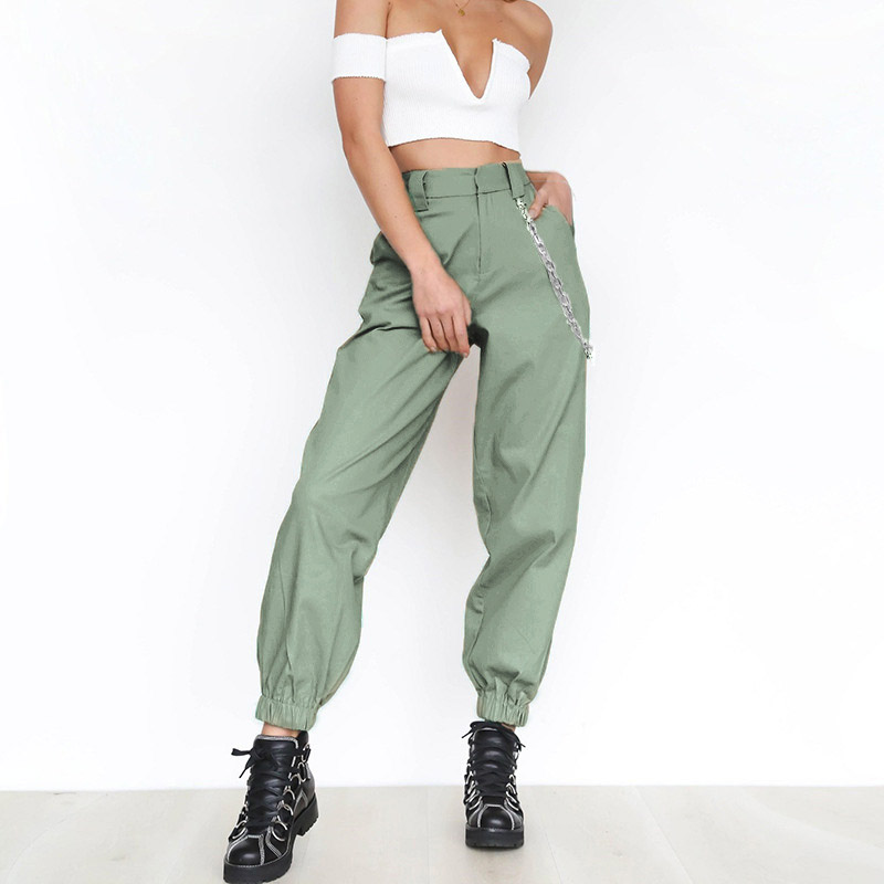 2018 Women Elegant Chain High Elastic Waist Long Harem Pants Casual Baggy Party Trousers Pockets Work Solid Loose Pantalon