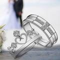1 шт. Посеребренная Кольцо Ювелирные Изделия Обручальное Любовь Корона Крест Циркон Свадебные Любители Пара Кольца для Женщин Мужчин