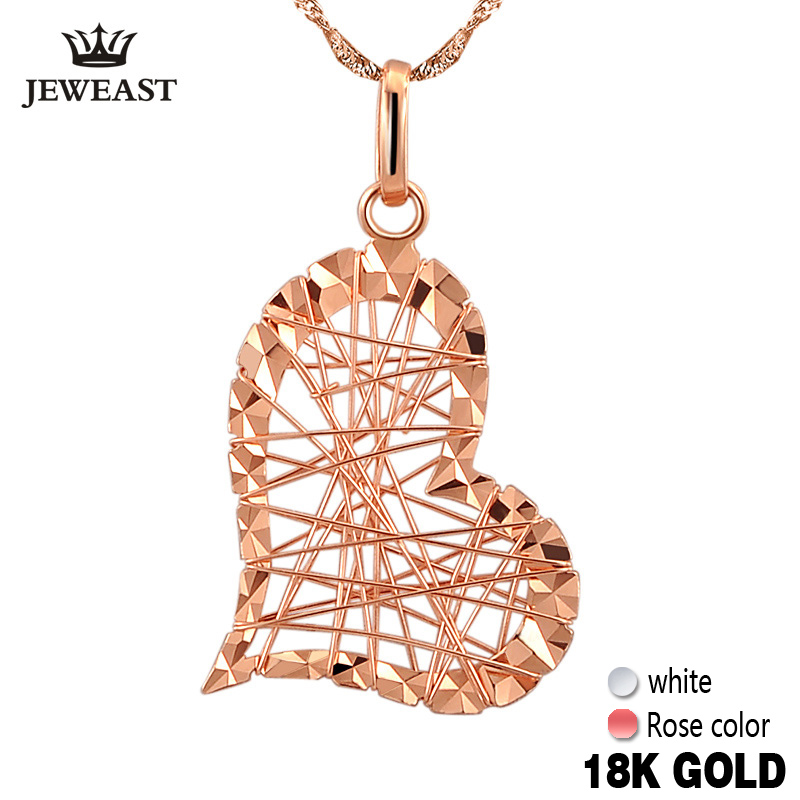 18k Pure Gold Pendants Heart Shape Charm Au750 Rose Fine Jewelry Fashion Classic Women Girl Gift Hot Selling Simple 2017 New new pure au750 rose gold love ring lucky cute letter ring 1 13 1 23g hot sale