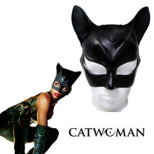 2017 halloween Stage Cosplay Sexy Batman Cosplay Costume Catwoman Mask Headgear Black Half Face Latex Mask Cosplay Party Mask(China)