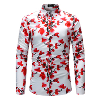 Chinese Style Floral Print Men Shirt Long Sleeve Elegant Plum Blossom Pattern Mens Clothing Fashion Dress