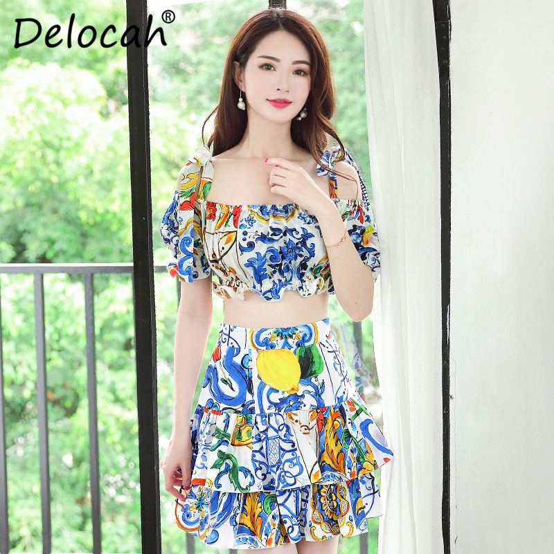 Delocah 100 Cotton Skirt Two Pieces Set Runway Fashion Designer Floral Print Women Summer Casual Vacation