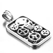 Punisher Skull Titanium Steel Necklace Pendant Gear Skeleton Stainless Steel Fashion Jewelry For Men