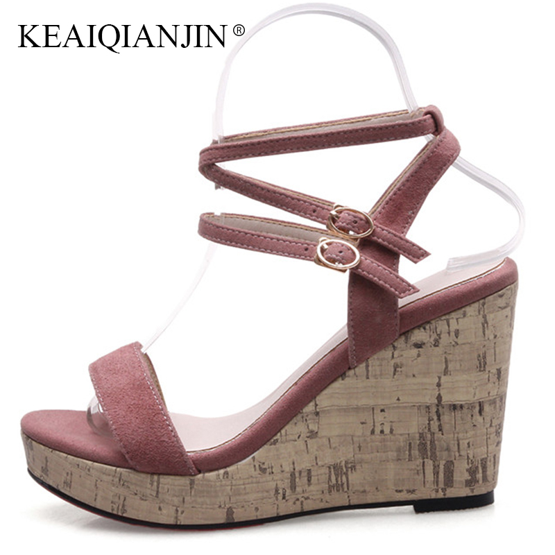 KEAIQIANJIN Woman Summer Genuine Leather Peep Toe Sandal Fashion Black High Heels Shoes Sexy Gladiator Open Toe Wedges Sandals new women sandals low heel wedges summer casual single shoes woman sandal fashion soft sandals free shipping