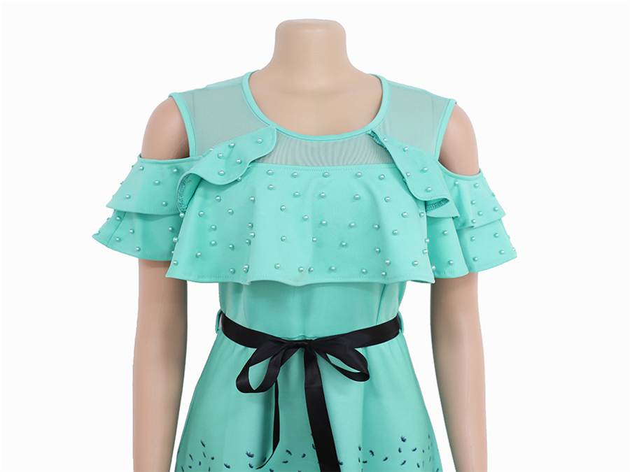 BAIBAZIN 2019 New African Dresses for Women New Digital Beaded Printed Short sleeved Belt Dress XXXL in Africa Clothing from Novelty Special Use