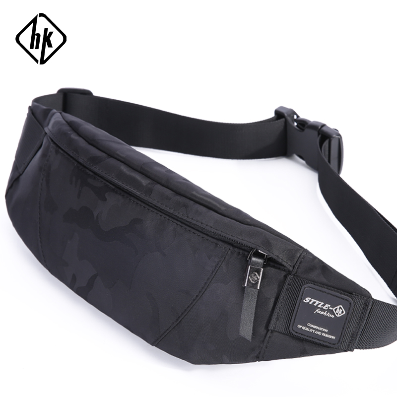 Hk Men Male Casual Fanny Bag Waist Bag Money Phone Belt Bag Pouch Camouflage Black Gray Bum Hip Bag Shoulder Belt Pack