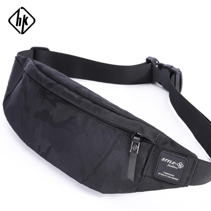 Hk Men Male Casual Fanny Bag Waist Bag Money Phone Belt Bag Pouch Camouflage Black Gray Bum Hip Bag Shoulder belt pack(China)