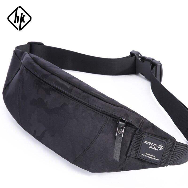 Hk hombres Casual Fanny bolsa cintura bolsa dinero teléfono bolsa camuflaje  negro gris Bum cadera bolsa a3f9751067f1