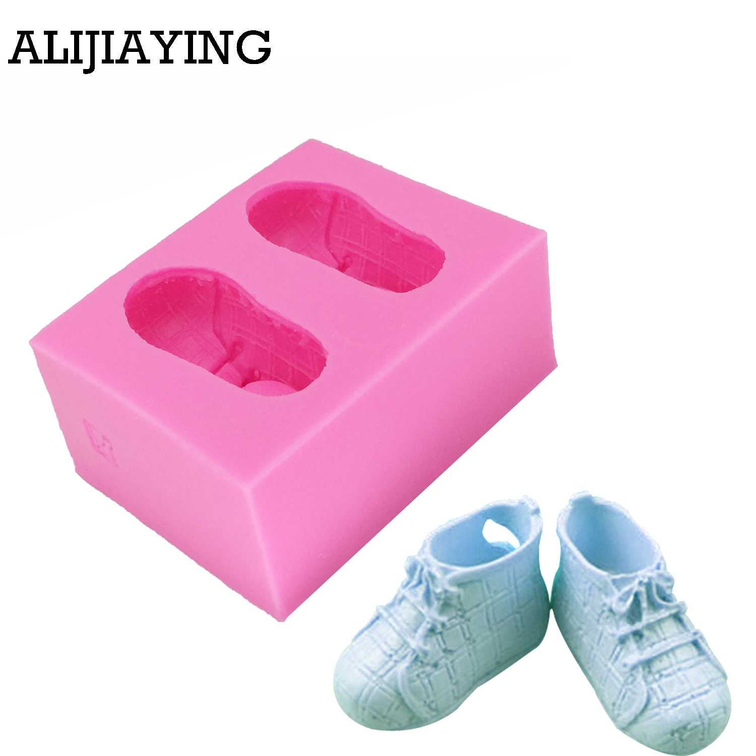 3D Baby Shoes Shaped Silicone Mold Fondant Cake Decorating Soap Chocolate Mould