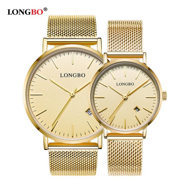 Longbo amantes pareja de lujo reloj hombres fecha día impermeable mujeres de malla de oro de acero inoxidable reloj de pulsera de cuarzo relogio masculino