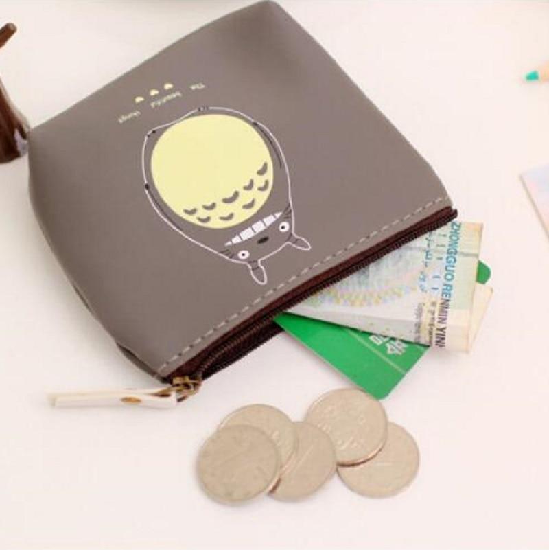 (4pcs/lot) PU leather cartoon totoro women coin bag change purse female wallet small cute earphone bag carteras for girls boys