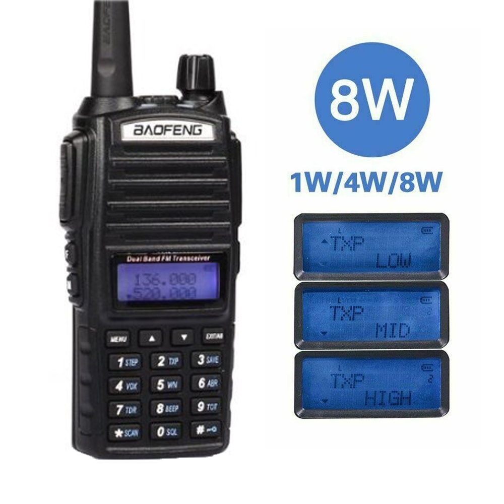 Baofeng UV-82 8W Walkie Talkie Portable Radio Dual Band Transceiver High Mid Low Power UV82 Ham Radio Station Amateur Portable