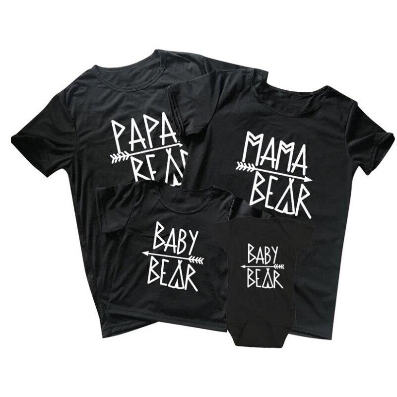 Pkorli Family T Shirt Papa Bear Mama Bear Baby Beart