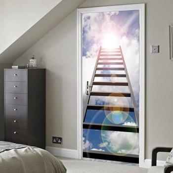 HD 3D Print Stairs Poster PVC Waterproof Entire Door Sticker Creative Stickers Door Wall Sticker DIY Mural Bedroom Home Decor