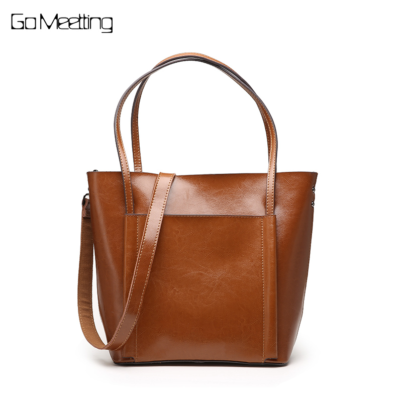 Go Meetting Genuine Leather Casual Tote Bag Handbags Women Bags Famous Brand Retro Shoulder Bag Oil wax Messenger Bag sac a main luxury brand rivet chain casual shoulder bags women famous designer lock messenger bag retro women leather bag gg bag sac a main