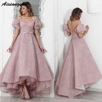 Pink Lace High Low 2019 Evening Dress Lace Puffy Sleeves Long Formal Party gown Vestido De Formatura Longo Abendkleider