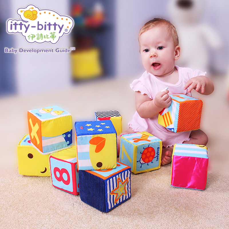 Itty-Bitty 9PCS Baby Textured Rattle Large Building Stack Soft Blocks Cube Educational Baby Toys Activity Game for Children Gift soft infant crib bed stroller toy spiral baby toys for newborns car seat hanging bebe bell educational rattle toy for gift