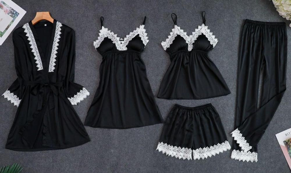 Женские пижамы, 5 шт., атласная пижама, шелковая Домашняя одежда, домашняя одежда, вышивка, Пижама для сна, для отдыха, пижама с нагрудными накладками - Цвет: Черный