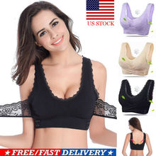 Sexy Front Cross Side Buckle Wireless Lace Bra Breathable for Women Sport Yoga