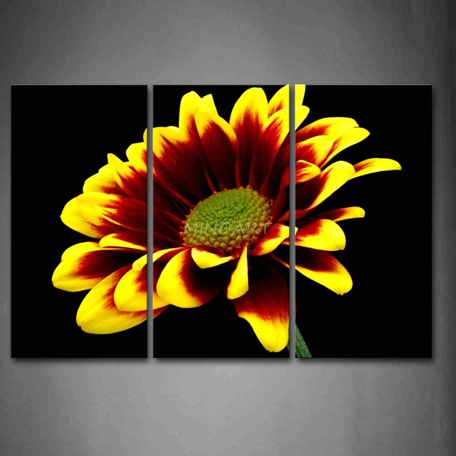3 piece wall art painting yellow and red flower in black background 3 piece wall art painting yellow and red flower in black background picture print on canvas mightylinksfo