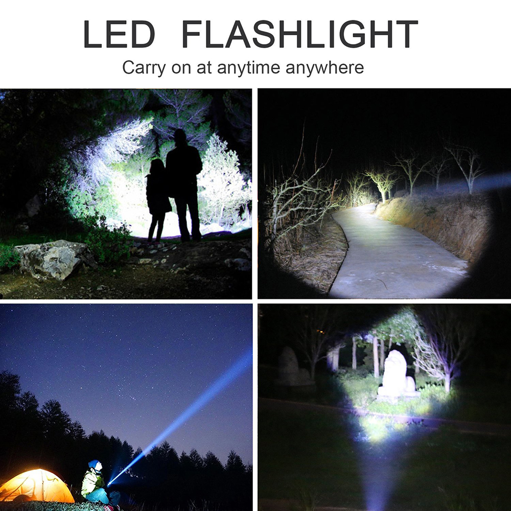 Купить с кэшбэком LED Flashlight T6/L2/V6 5 Lighting Modes LED Torch Zoom Outdoor Tactical Flashlights+18650 battery+Charger+Gift Box for Camping