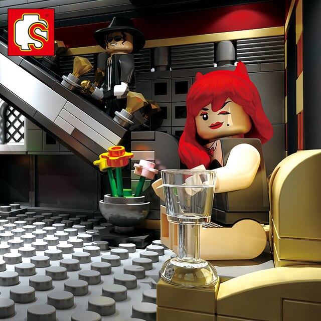 LED luxe boîte de nuit Legoing ville Street View créateur Expert blocs de construction 2488 pièce briques enfants cadeaux jouets pour enfants
