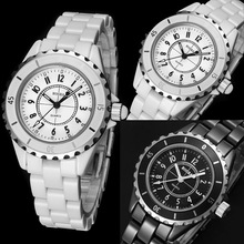 Mens Imitation Ceramic Quartz Analog Sports Wrist Watch