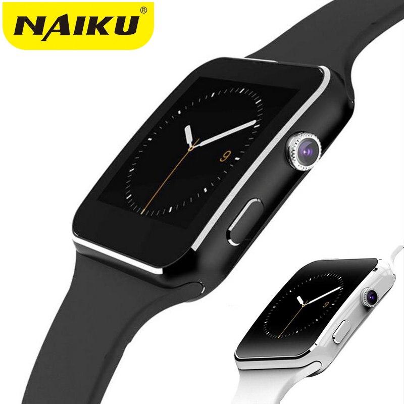 NAIKU Smartwatch Bluetooth Relógio Inteligente Esporte X6 Passometer com Suporte de Câmera Cartão SIM Whatsapp Facebook para Android Telefone