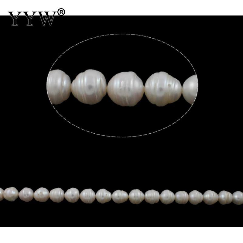 Perles de culture de pommes de terre d'eau douce blanc naturel 12.5-14mm environ 0.8mm environ 15.7 pouce vendu par KG