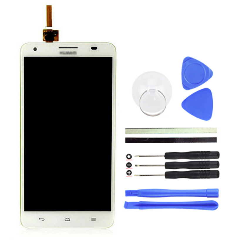 LCD Display Touch Screen +1PCS 5.5inch White Digitizer Replacement For Huawei Honor 3X Pro Cell Phone Parts +Free Tools