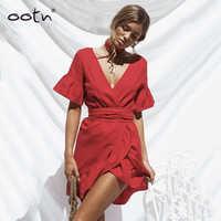 OOTN Rüschen Mini Kleid Frauen Tunika Red Sommerkleid Unregelmäßigen Tiefem V-ausschnitt 2019 Sommer Sonne Kleider Weibliche Kurzarm Bund