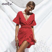 OOTN Ruffled Mini Dress Women Tunic Red Sundress Irregular Deep V Neck 2019 Summer Sun Dresses Female Short Sleeve Waistband