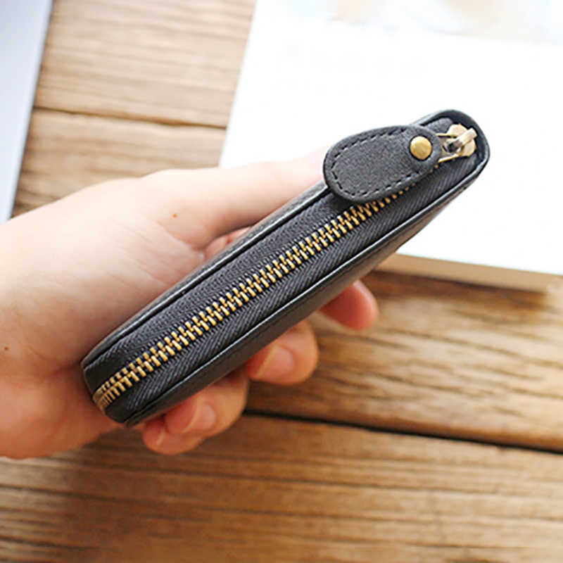 Calfskin Zipper Pendek Dompet Kulit Pria Horizontal Sederhana Kasual Koin Dompet Wanita Kartu Mahasiswa Pack