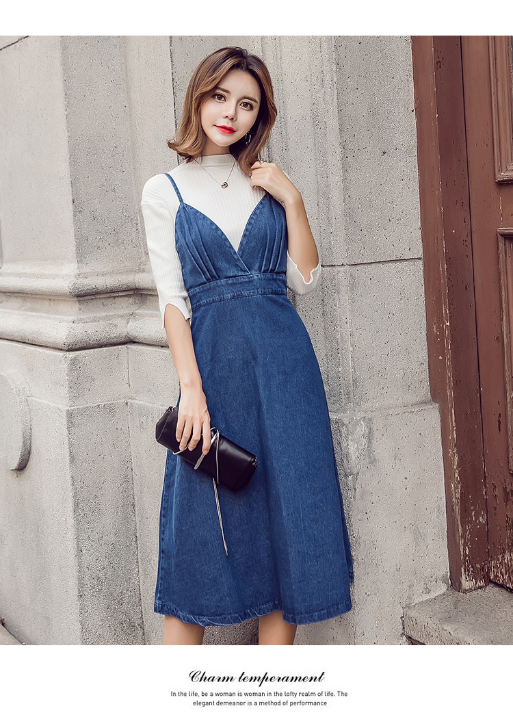 HTB1KAlxa7fb uJkSnhJq6zdDVXaO - HziriP 2018 New Arrival Women Denim Dress Fashion Casual Ankle-Length desses for Ladies Spaghetti Strap Bodycon Vestido Female