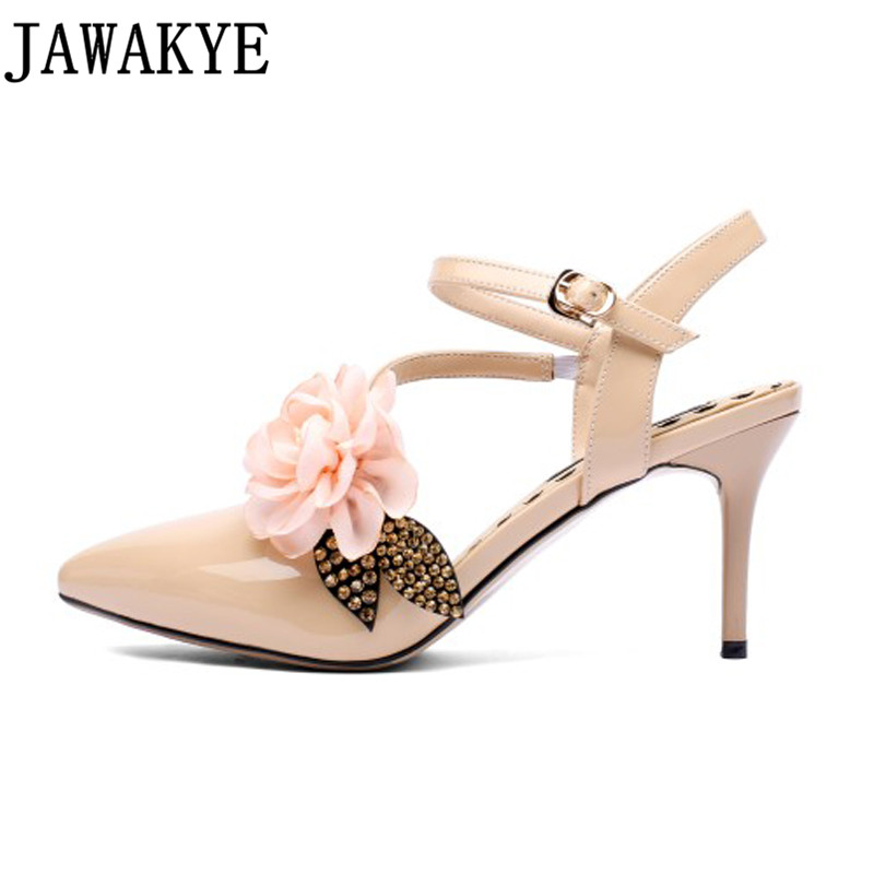 Runway Rhinestone flowers patent leather Women Pumps slingback pointed Toe summer sandals 7 5 cm high