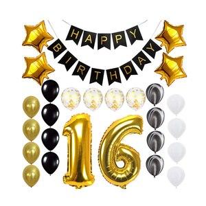 27 шт., черный, белый, золотой декоративный набор, с днем рождения, баннер, круглые Агатовые латексные и Звездные воздушные фольгированные шар...