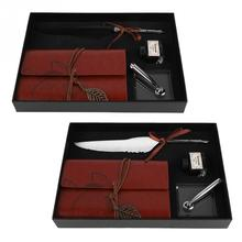 Retro Leather Notebook with Fountain Pen Feather Dip Pen Ink Bottle Set Stationery Gift Box Black White