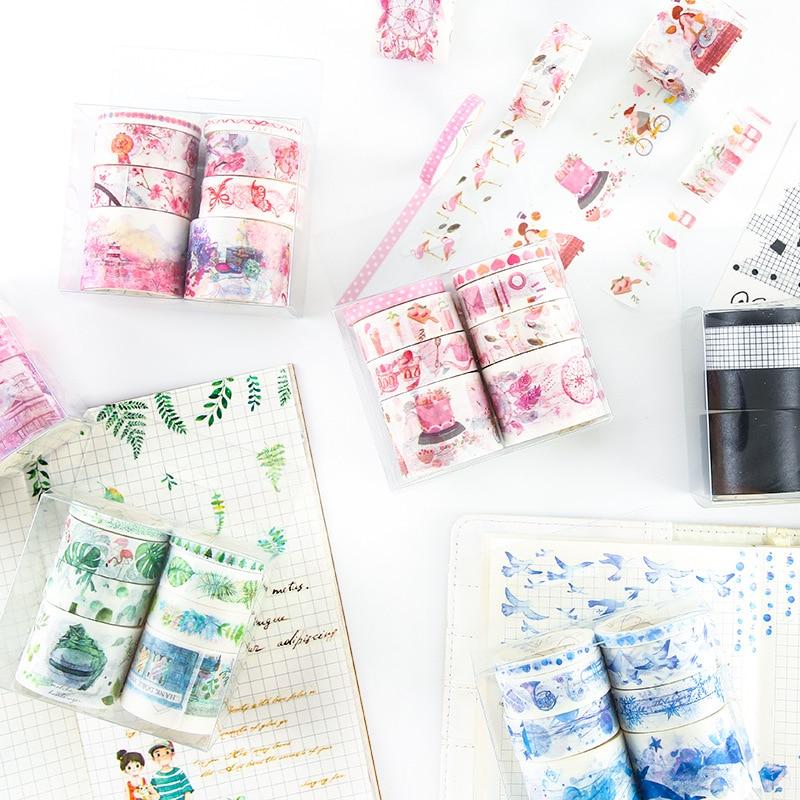 8 pcs/pack Fresh Blue Pink Green Black White Felling Washi Tape Adhesive Tape DIY Scrapbooking Sticker Label Masking Tape цена