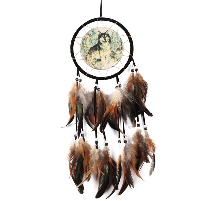 Handmade Wolf Dream Catcher Feather Bead Home Living Room Hanging ...