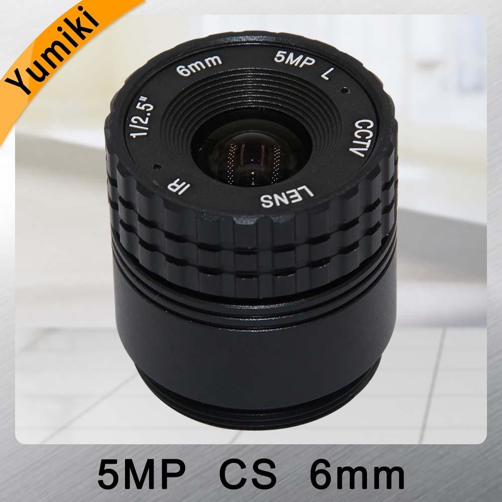 Yumiki 5.0MP HD 6mm CCTV Lens Manual Focal CS mount IR 12.5 5mp for Security IP Camera